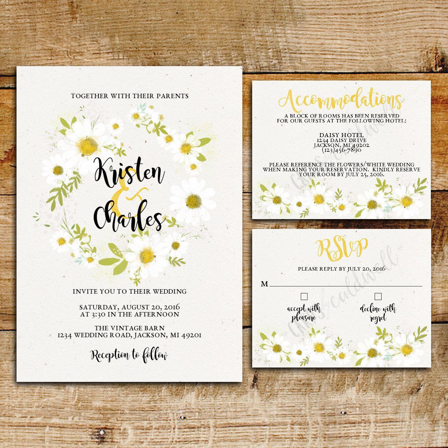 Daisy Wedding Invitation Suite White Daisies Printable Wedding Invitations Daisy Wedding Invitations Daisy Invitations Daisy Wedding
