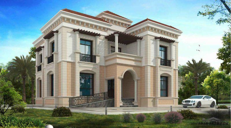نمط فيلا خليج مودرن مساح الارض 18 م عرض X 16 80 م عمق 5 غرف نوم Modern House Facades Building Plans House My House Plans
