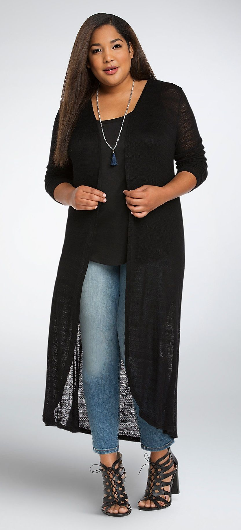 92069cb6167 Plus Size Pointelle Open Front Duster Cardigan