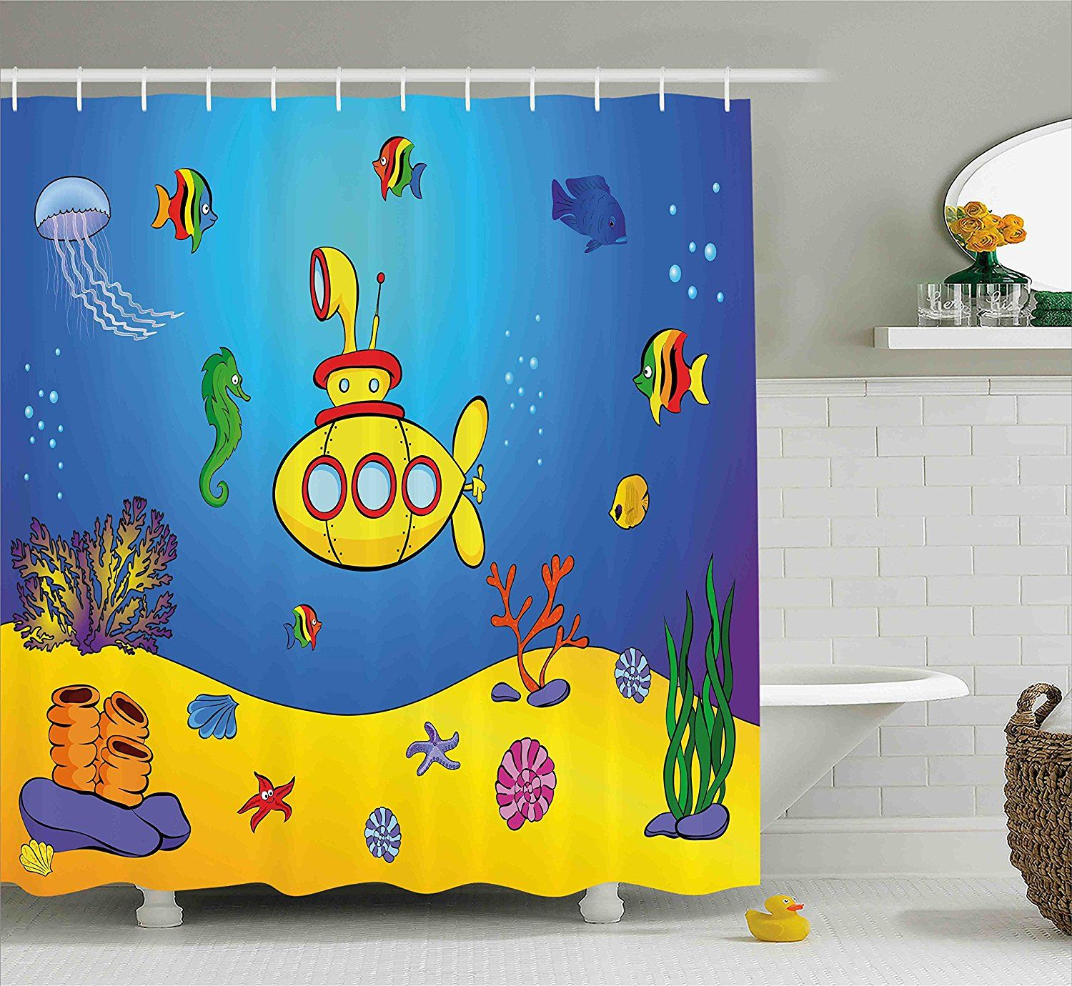 Kids Ocean Bathroom Decor Beatles Yellow Submarine Shower Curtain For The Bathroom