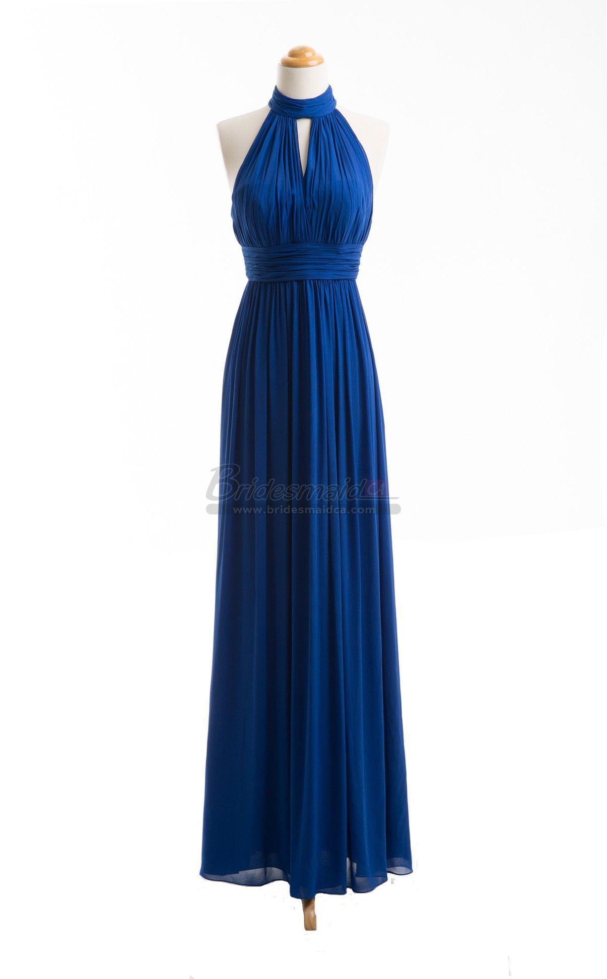 Bridesmaid long royal blue chiffon halter bridesmaid dress bdsca