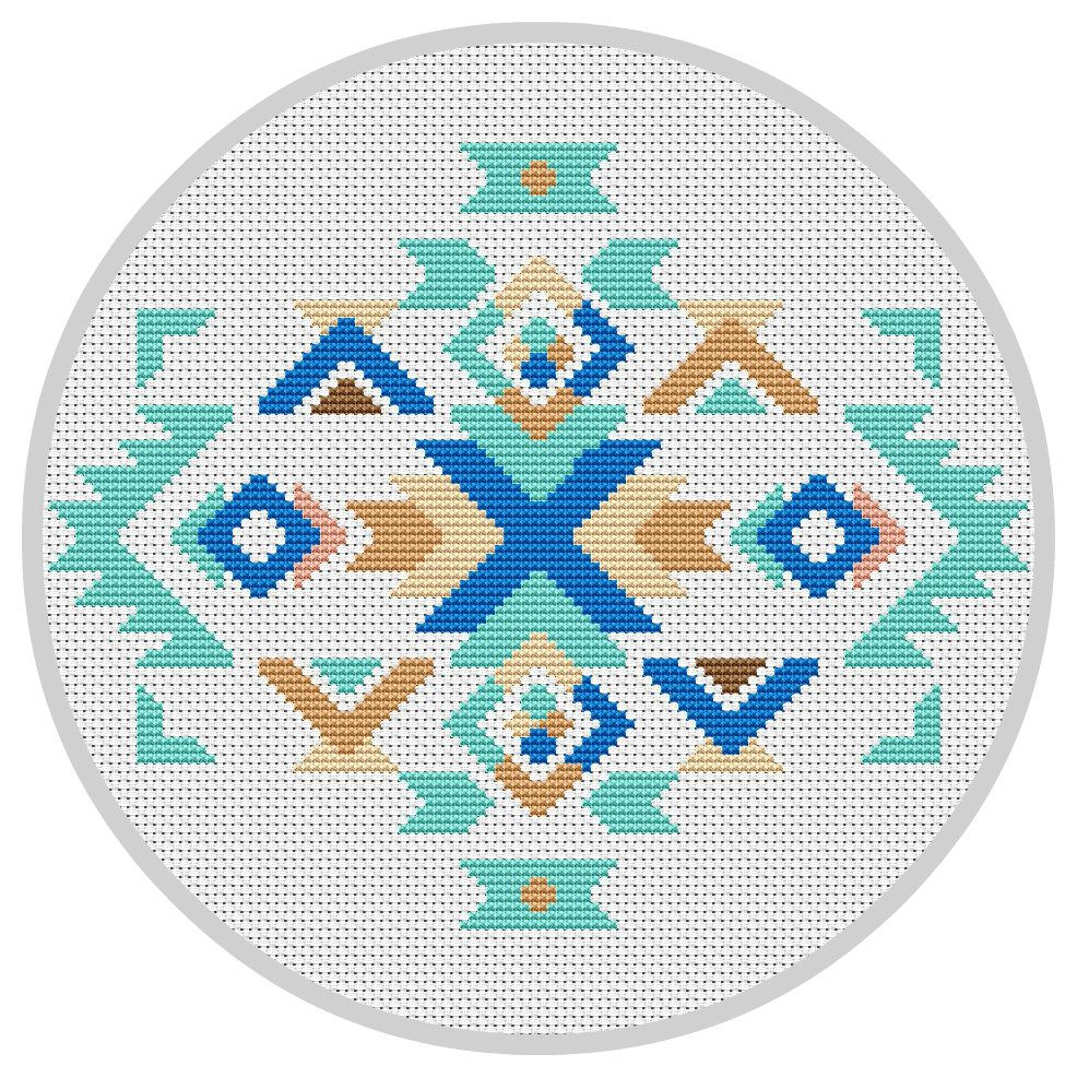 Modern cross stitch pattern boho ornament navajo pattern geometric