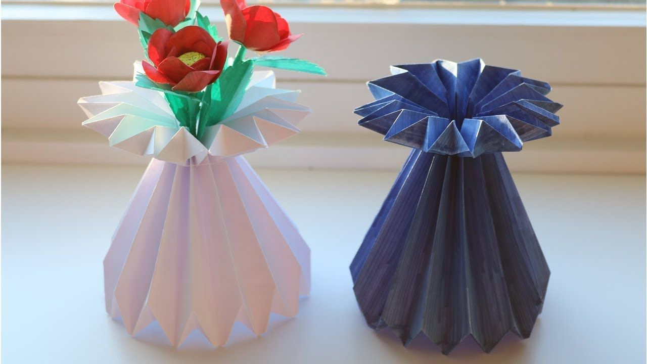 How To Make A Paper Flower Vase Diy Simple Paper Craft Origami