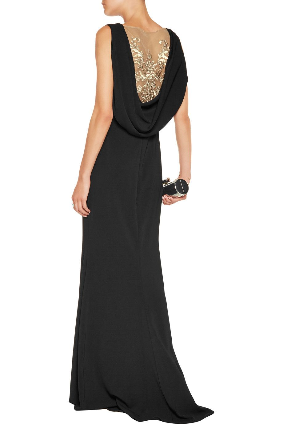 Shop On Sale Marchesa Notte Draped Crepe Gown Browse Other Discount