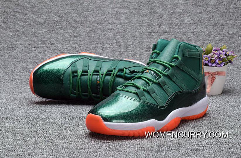 Mens/Womens Air Jordan Retro 11 (XI) Miami Hurricanes Andre Johnson Green Orange Shoes Exclusive