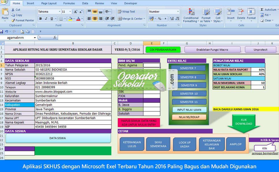 Aplikasi SKHUS dengan Microsoft Exel Terbaru Tahun 2016