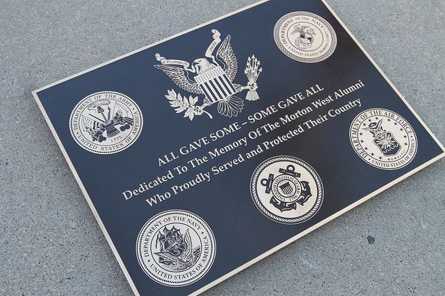 We designed, crafted and installed this cast bronze military plaque for  Morton West High School