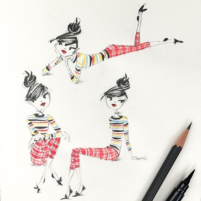 Anne Keenan Higgins stripes and plaid sketch