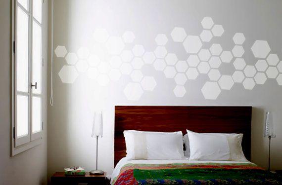 Regarder wall pochoir en nid d 39 abeille hexagone moderne g om trique mod le mur chambre d cor - Pochoir mural chambre ...