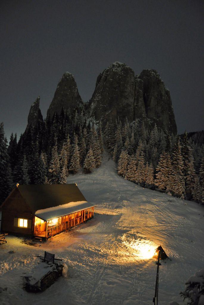 Silent snowy night  living a fairytale in Romania