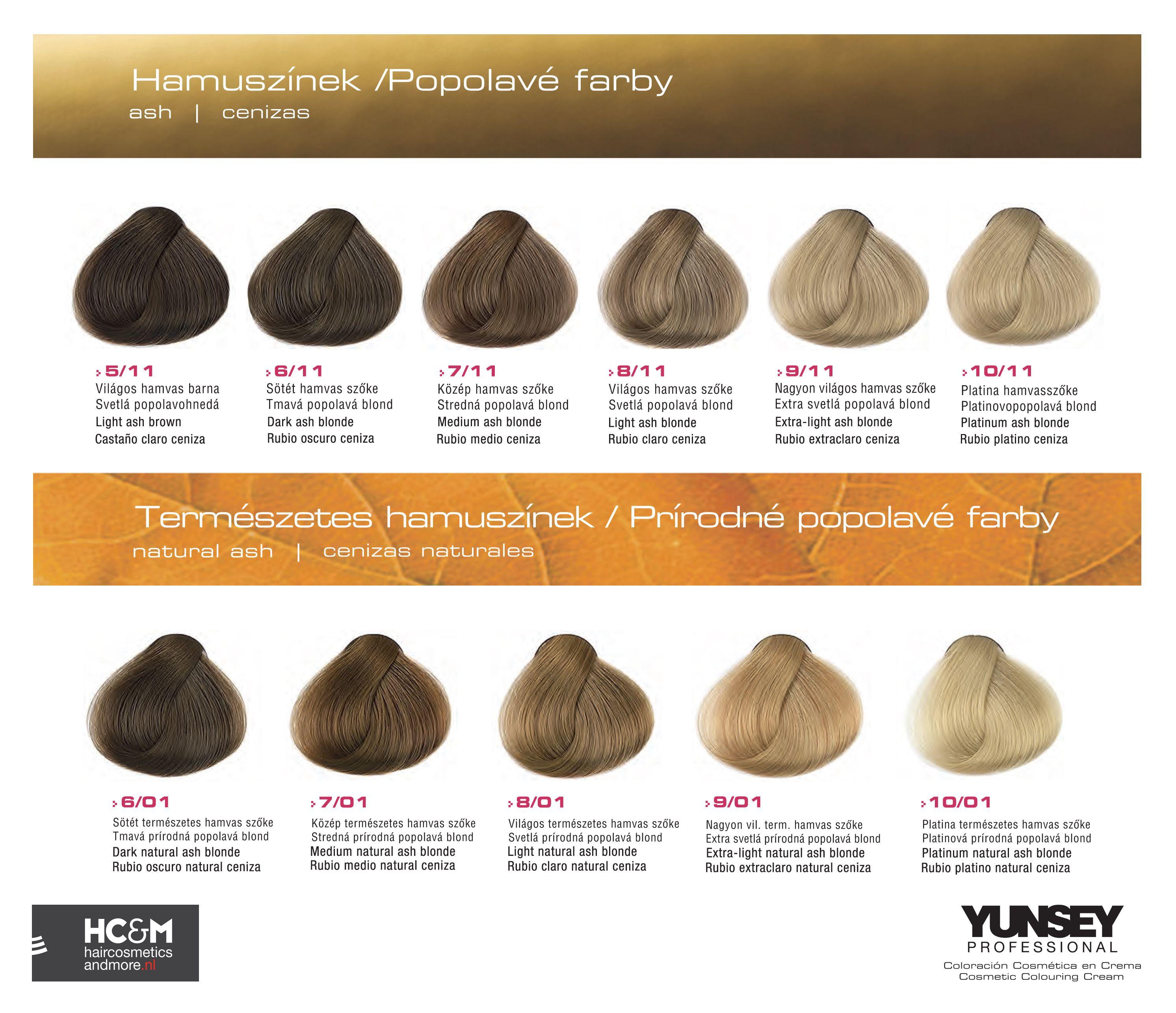 Tonos De Rubio Carta De Colores Yunsey Hair Color Natural Ashes Tinte Colores