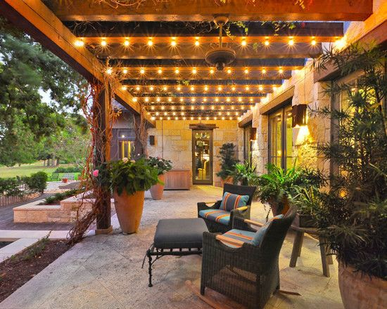 Wood Pergola Outdoor Walkway Patio Seating String Lights Lighting Globe Bulbs Backyard Ideas