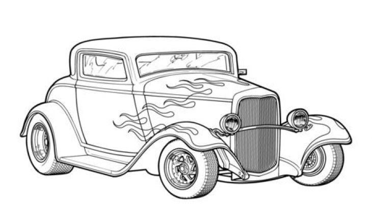 Classic Hot Rod Car Coloring Page Printable | Transportation ...