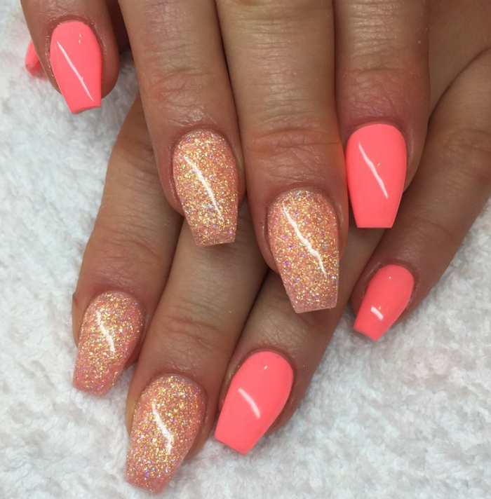 Beautiful Nails. Pink/coral, Coral/gold Glitter