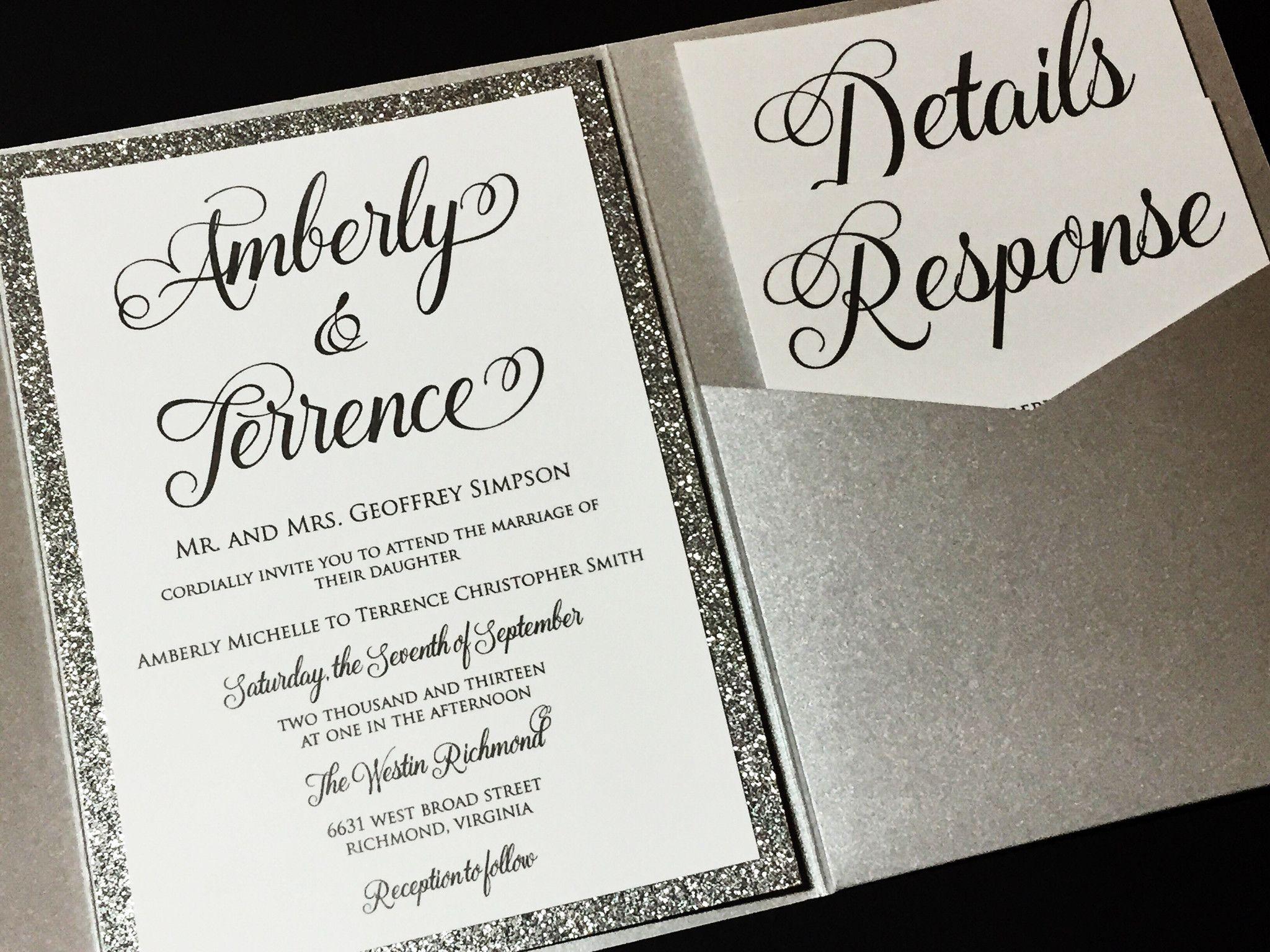 Glitter Wedding Invitation, Pocketfold Wedding Invitation ...