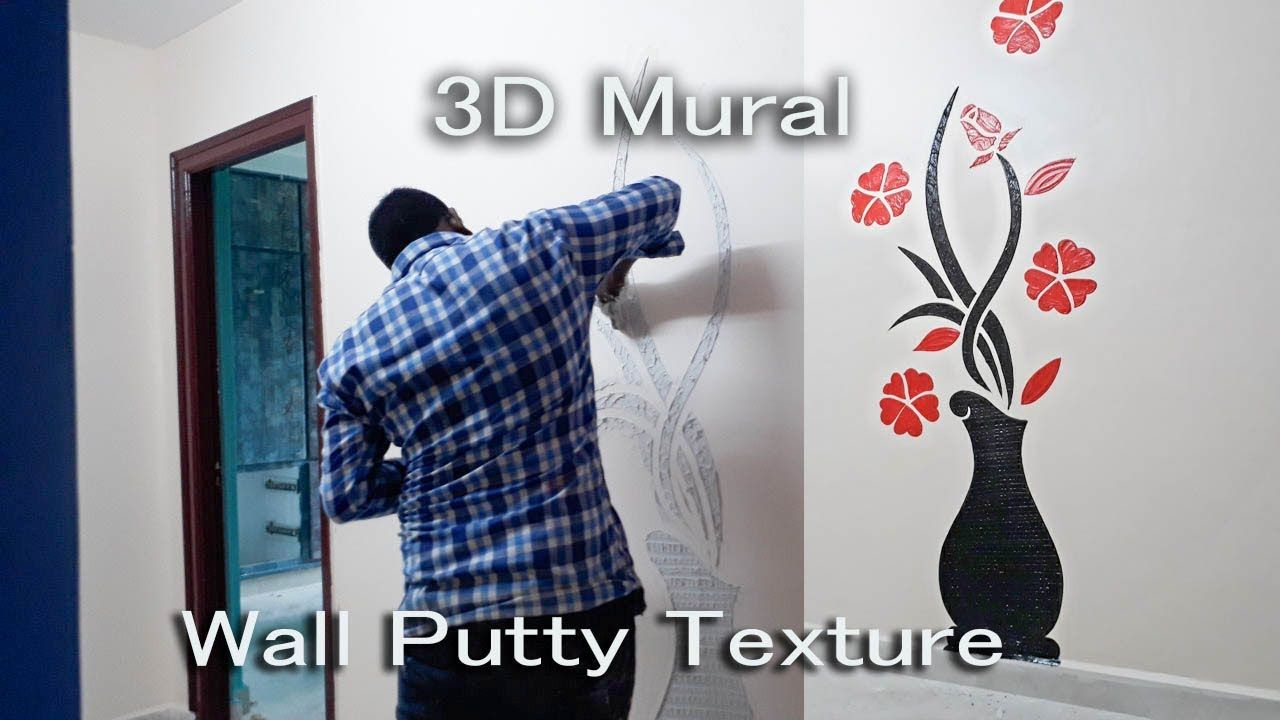 Wall Putty Texture Paint Design 3d Mural Youtube Wall Murals Wall Murals Painted Mural Design