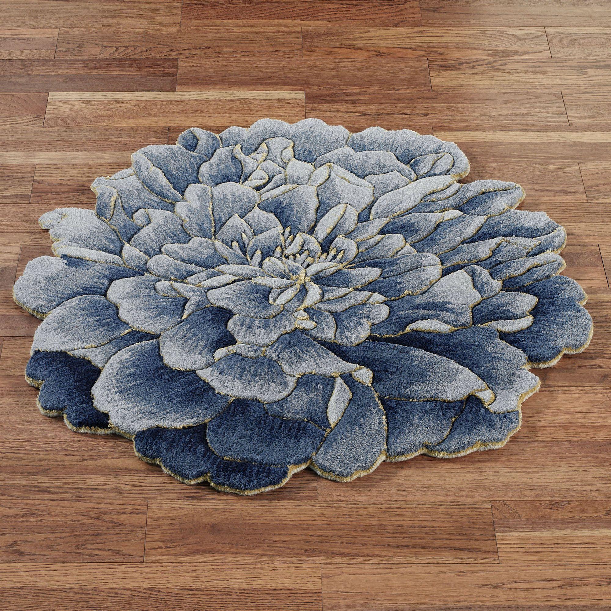 Geena Blue Flower Shaped Round Wool Rugs