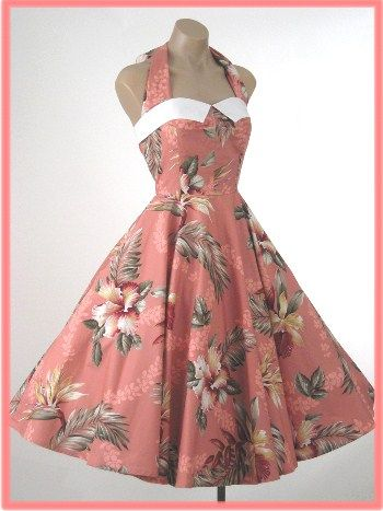 333fe35dc01 Vintage reproduction hawaiian print halter dress from Blue Velvet Vintage