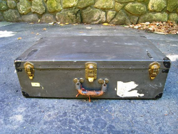 Antique Black Suitcase by TheGlossedAndFound on Etsy, $75.00