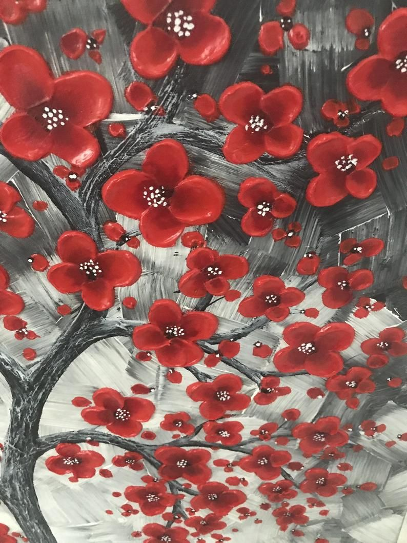 One Of A Kind Red Cherry Blossom Tree Painting For The Office Etsy Red Cherry Blossom Abstract Tree Painting Cherry Blossom Tree
