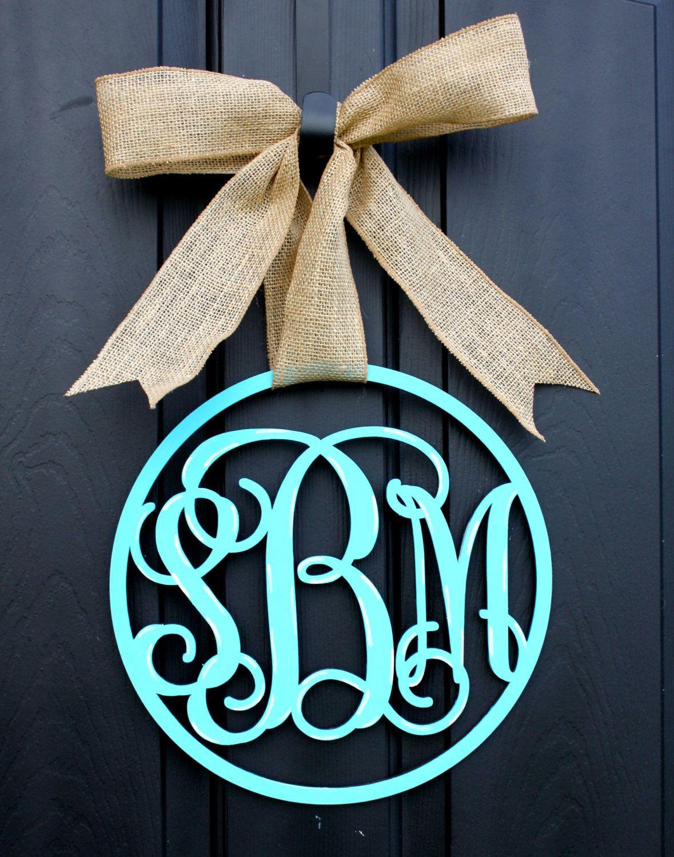 Wooden Monogram Monogrammed Wreath Monogram Door By Oursentiments