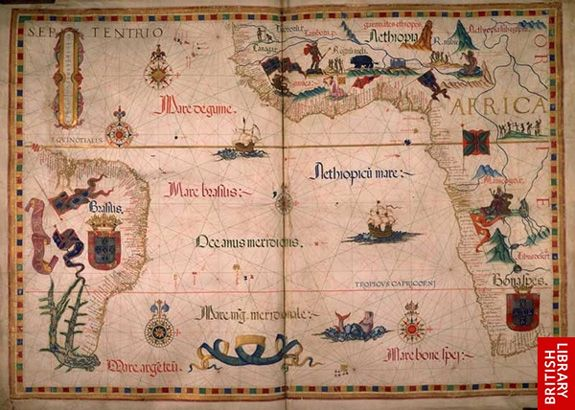 A page from diogo homems world atlas england published in 1558 a page from diogo homems world atlas england published in 1558 gumiabroncs Choice Image