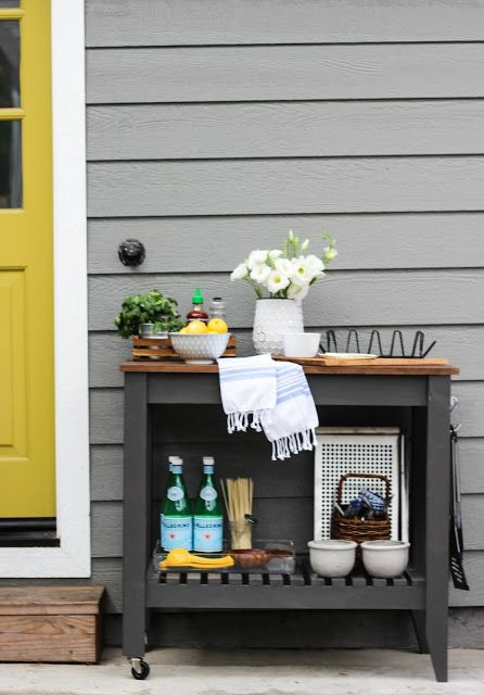 12 Clever Ways To Use Bar Carts That Have Nothing To Do With Booze Diy Outdoor Bar Outdoor Bar Cart Grill Cart