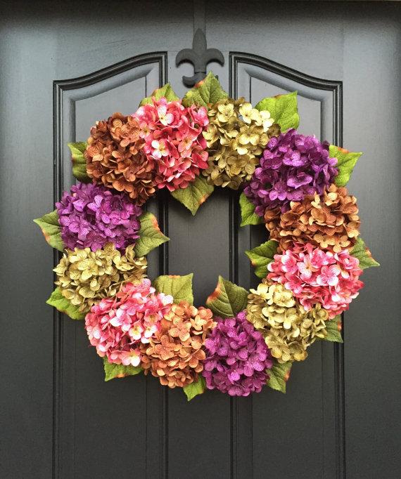 MOTHERu0027S DAY Wreath, Summer Wreaths, Front Door Wreaths, Spring Hydrangea  Wreath, Outdoor Wreaths, Summer Door Wreaths, Door Wreath