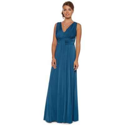 Debut Teal ruched jersey maxi occasion dress- at Debenhams.com ...