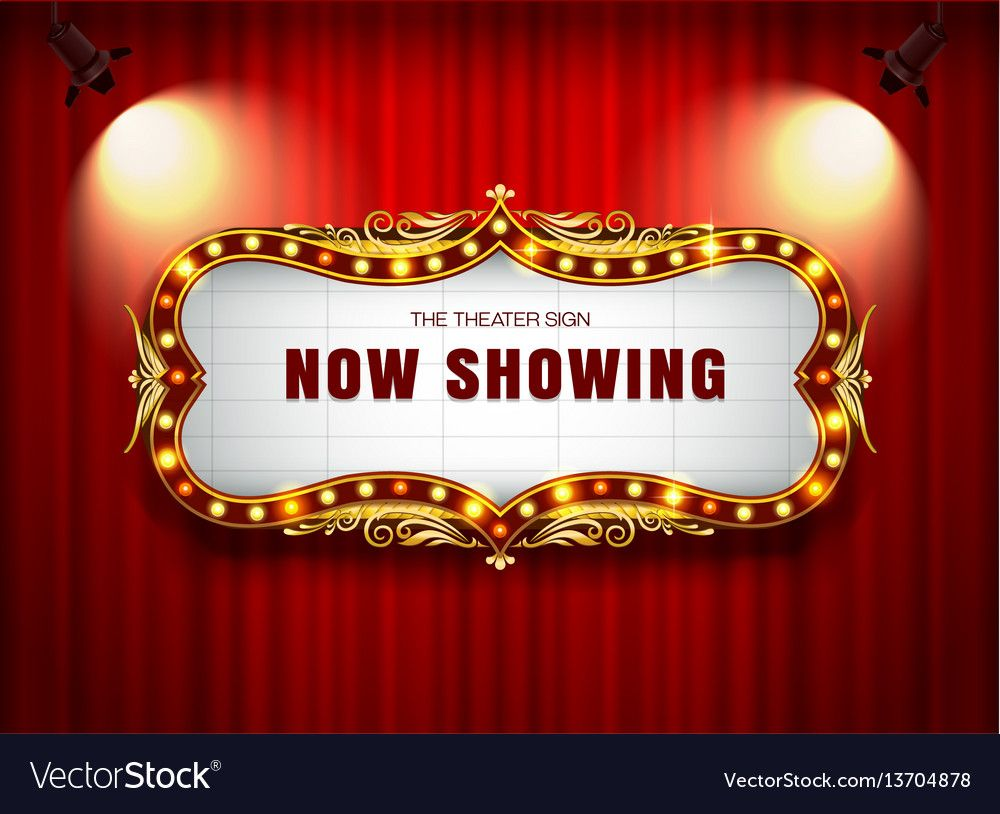 Theater sign on curtain vector image on theatre sign