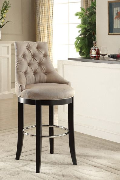harmony button tufted beige fabric upholstered bar stool with metal