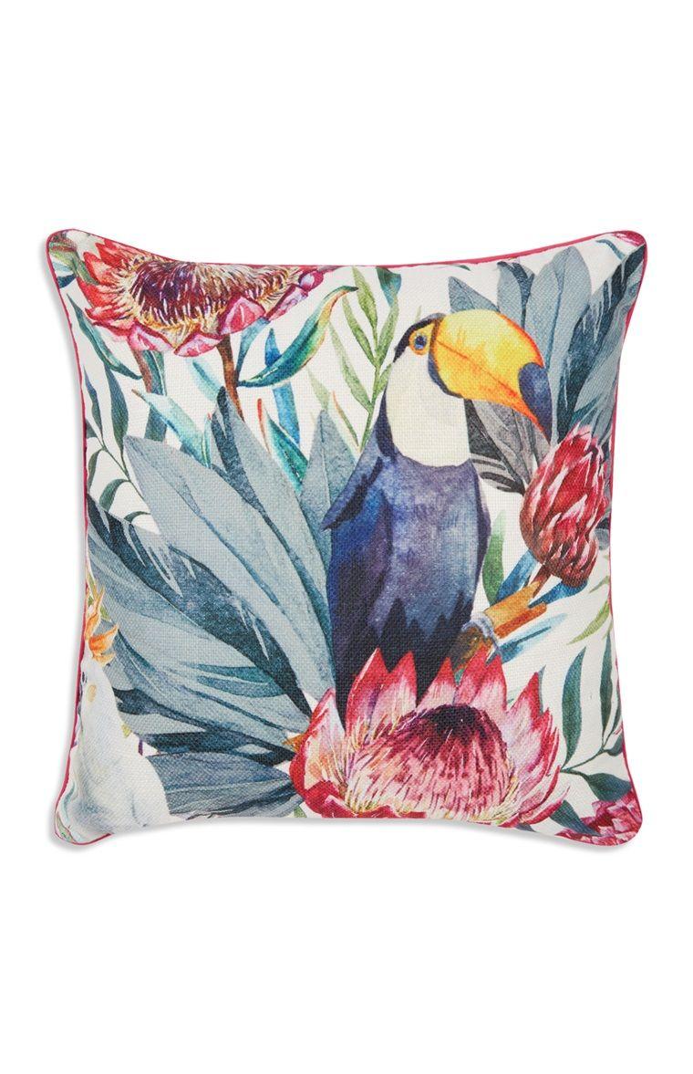 Primark Toucan Floral Cushion Blumenkissen Blumenmuster Und Kissen