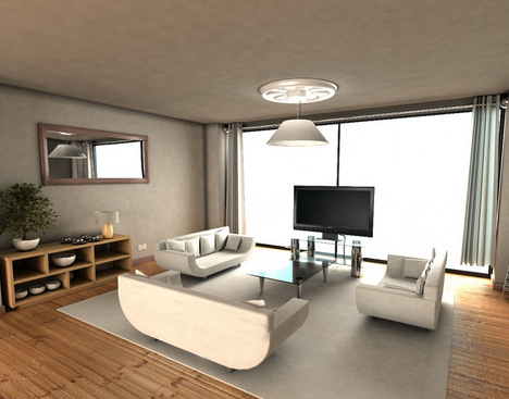 Here You Can See A Ice Variation Where The Television Set Is Infront Of The Contemporary Living Room Design Furniture Design Living Room Minimalist Living Room