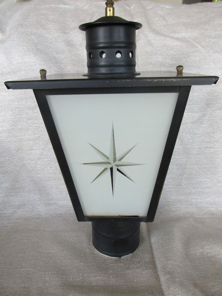 Vintage Mid Century Lamp Post Lantern Steel Yard Light Star