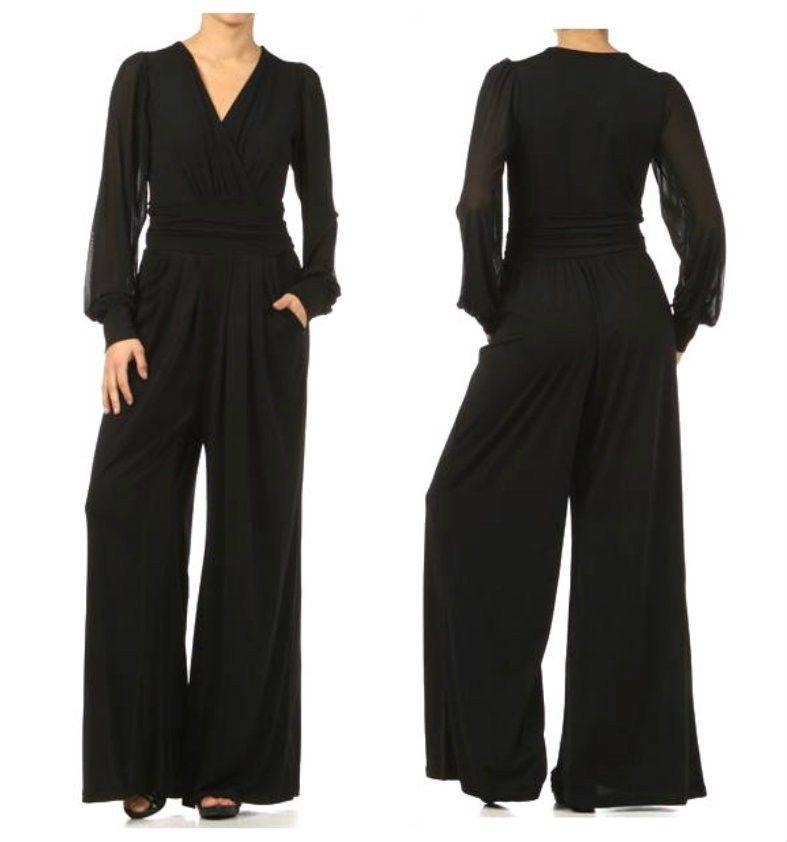 52f561bb386 Plus women black mesh chiffon long sleeve wide leg pants suit dress ...