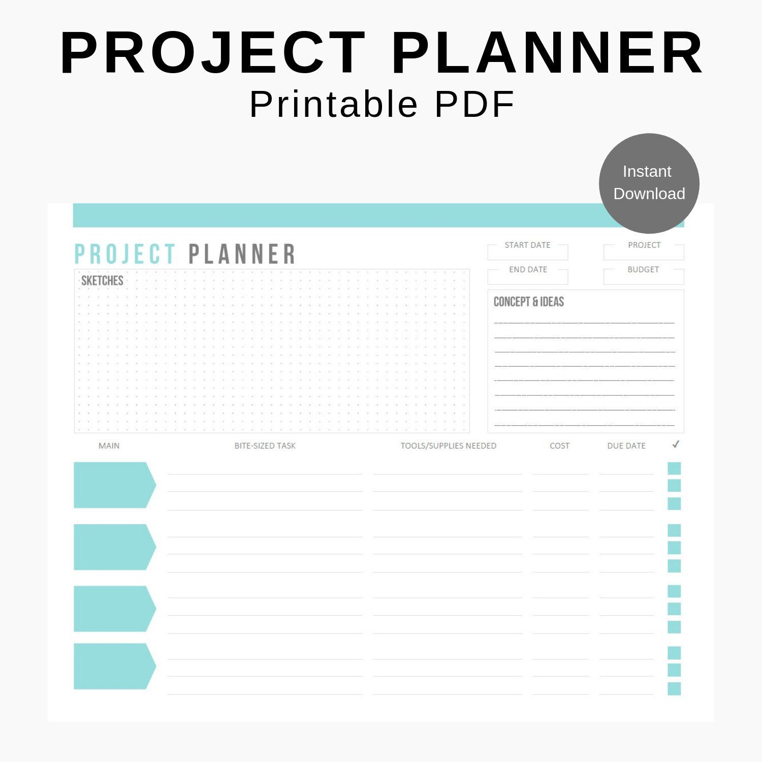 Project Planner Printable Insert Digital Worksheet