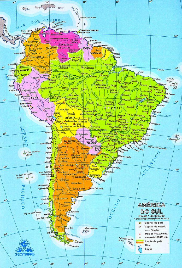 Mapa de América del Sur (Sudamérica) - mapa da América do Sul - map ...