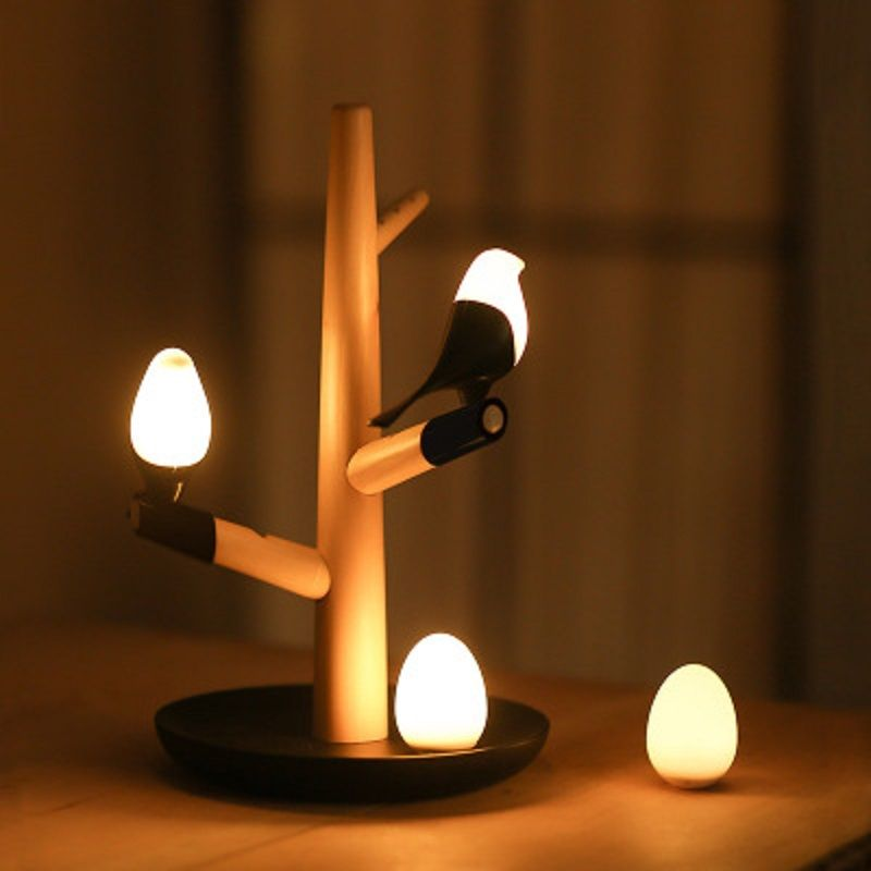 Smart Bird Led Atmospheere Nightlight Intrared And Touch Sensitive Usb Charger Bedroom Lamp Baby Sleeping Wooden Table Lamps Led Night Lamp Unique Table Lamps