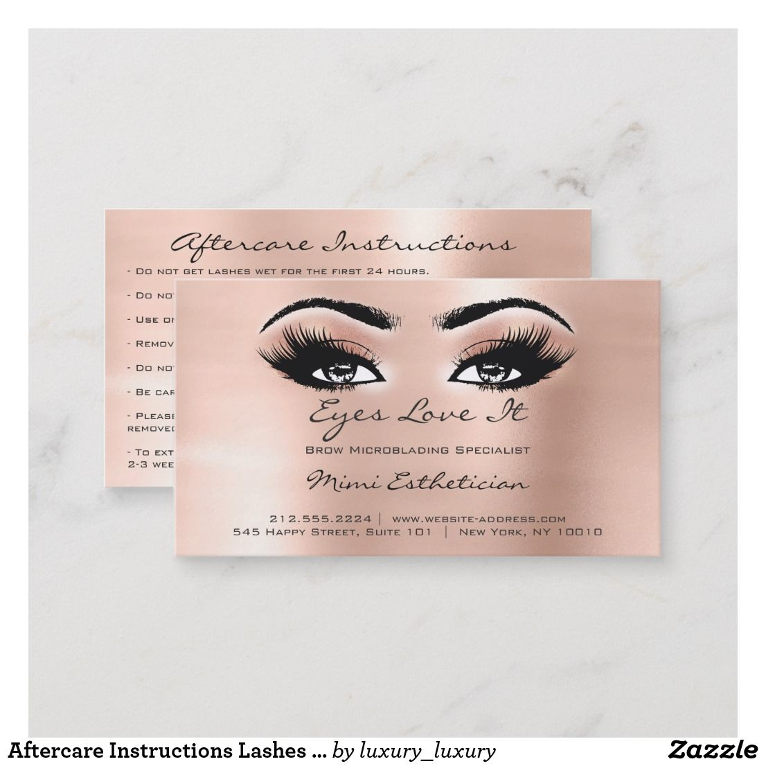 Can You Get Eyelash Extensions Wet In The Shower Aftercare Instructions Lashes Extension Rose Peach Business Card Zazzle Com Eyelash Extensions Aftercare Aftercare Tattoo Aftercare Tips