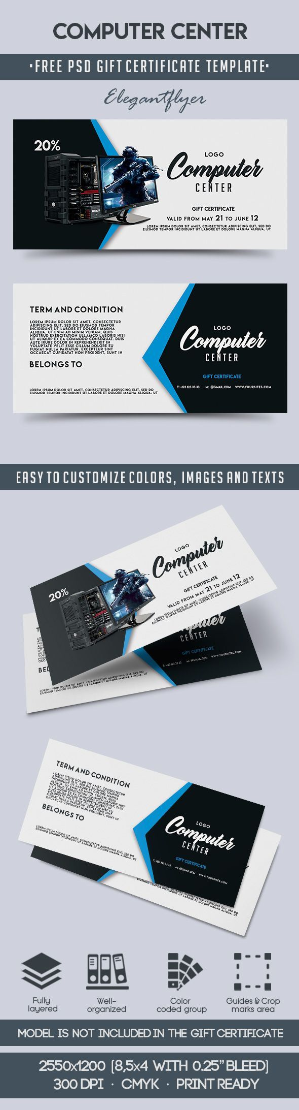Computer center gift certificate template psd templates gift computer center gift certificate template psd templates gift certificates and certificate yelopaper Gallery