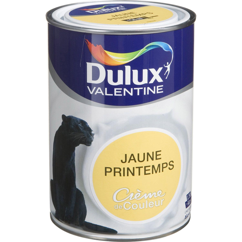 Peinture Jaune Printemps Satin DULUX VALENTINE Crème De Couleur 1.25 L