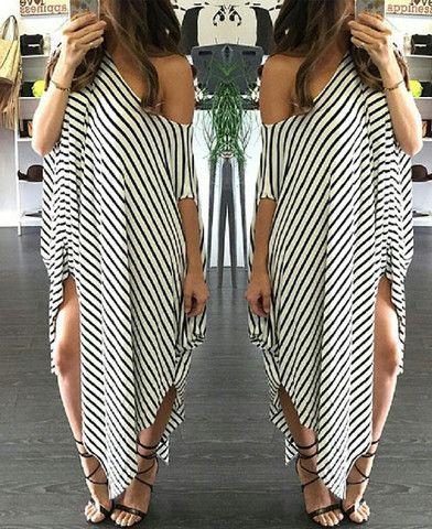 Striped Loose Cloak Dress