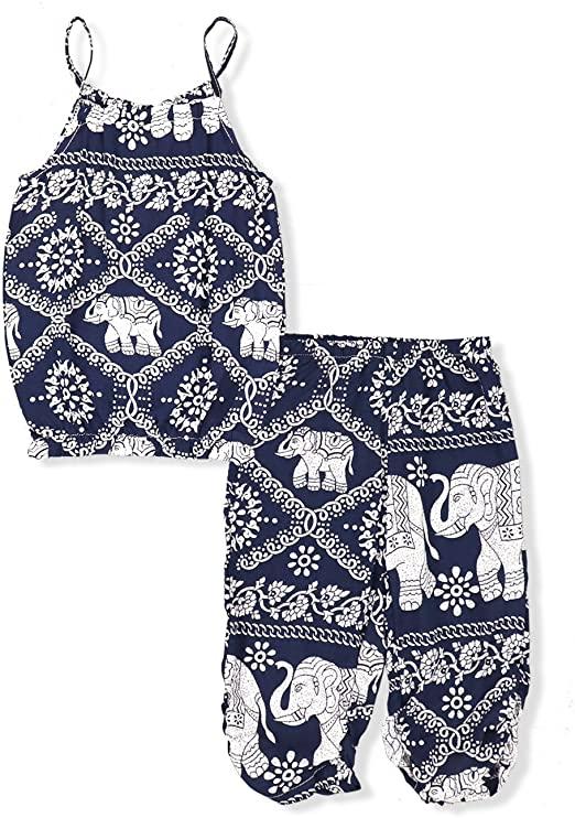 2Pcs//Set Kids Baby Girls Jumpsuit Romper Elephant Straps Tops+Harem Pants Outfit