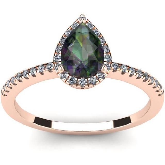 FireFacet 1 CT TW Pear-Cut Mystic Topaz and Diamond 14K Rose Gold Halo Ring
