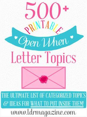 Open When Letter Topics  Gift Bullet Journals And Friend