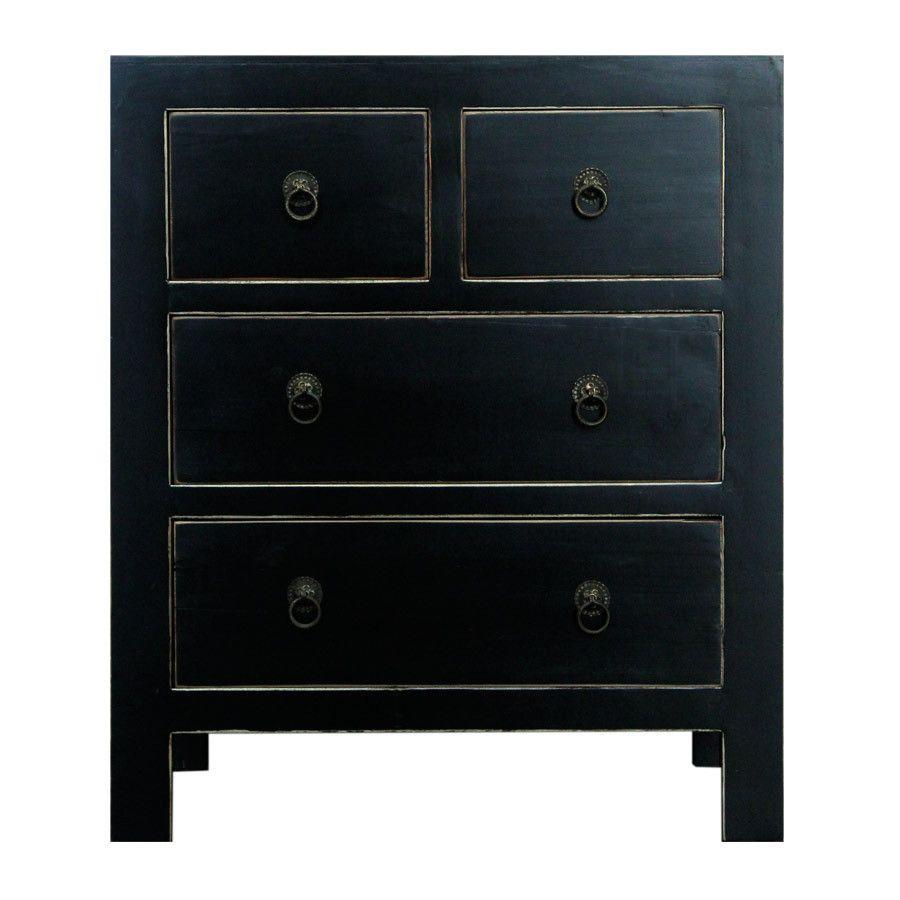 Black chinese bedside bedside furniture home decor