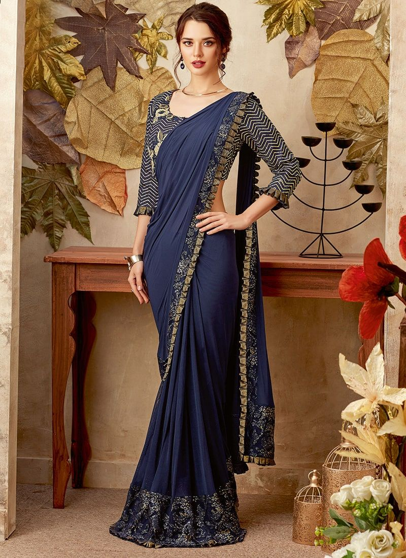 6be8c6c0b22c Blue Fancy Fabric Embroidered Designer Wedding Saree. Blue Fancy Fabric  Embroidered Designer Wedding Saree Party Wear Sarees Online ...