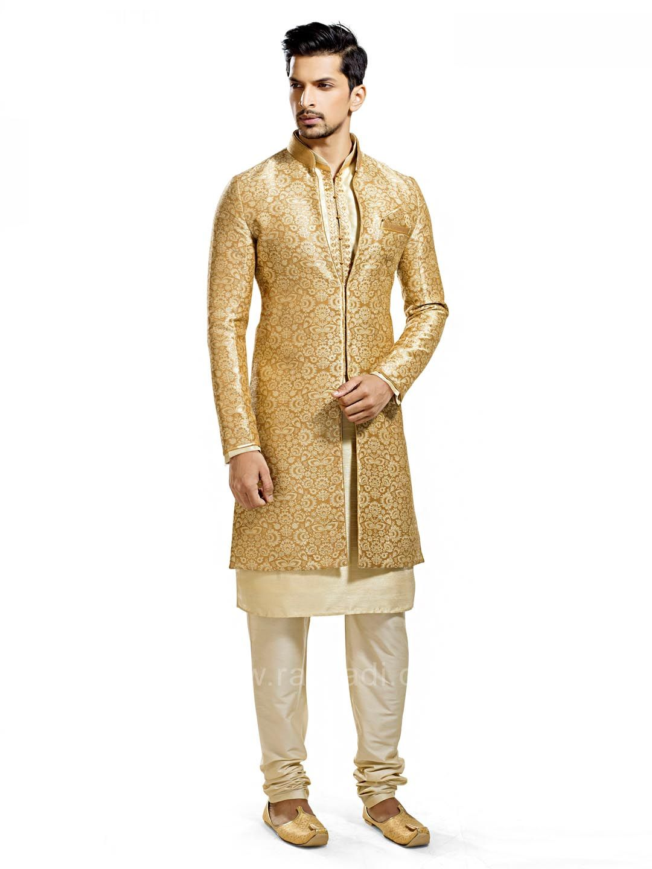Silk fabric golden color indo western rajwadi indowestern trendy