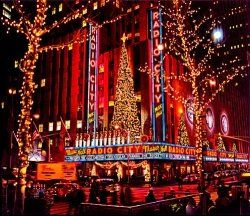 NYC - Radio City Music Hall, Neon all aglow for the Holidays, New York City