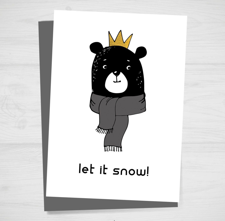 bear in scarf printable christmas card bear card holiday card